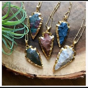 Natural Stone 14K Gold Boho Arrowhead Necklace